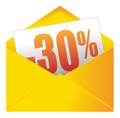 Courrier, email, message, invitation, enveloppe, soldes, 30%