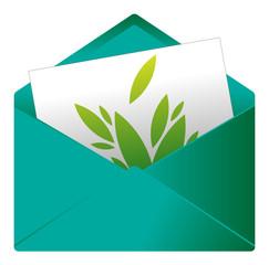 Courrier, email, message, invitation, enveloppe, vert, végétal