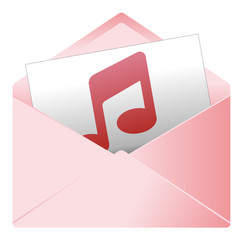 Courrier, email, message, invitation, enveloppe, note, musique