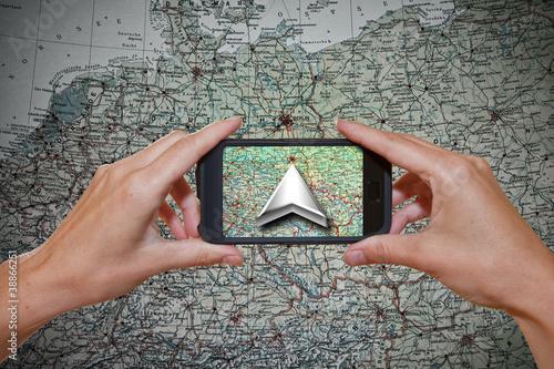 Leinwanddruck Bild GPS mobil