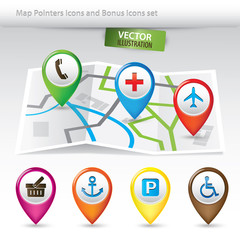 Map Pointers and Bonus Icons Set