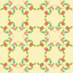 Soft yellow pattern design with seamless twigs, leaves and small