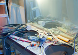 home improvement  messy clutter with dusted tools poster