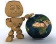 Cardboard Box figure with globe
