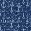 Nautical seamless pattern with doodle anchors