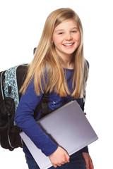 schoolgirl with laptop smiling