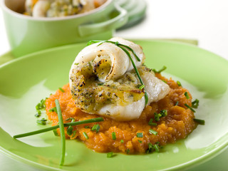 cod fillet stuffed with herbs over mashed carrot,heatlhy food
