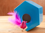 bird in blue nest house polygonal shape poster