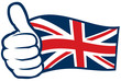 United Kingdom flag. Hand showing thumbs up.
