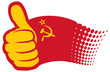 USSR flag (Soviet Union flag). Hand showing thumbs up.
