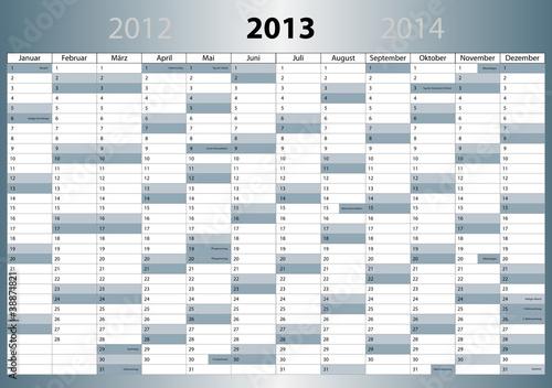 Kalender 2013 deutsch mit Feiertagen (DIN-Format)