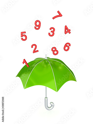 Green umbrella under the rain of red numbers.
