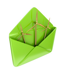 Golden windmills in a green envelope.