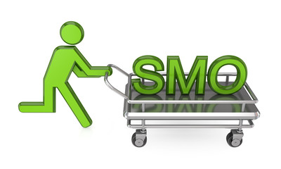 3d small person with a pushcart and big word SMO.