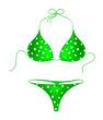 Green bikini suit with white dots