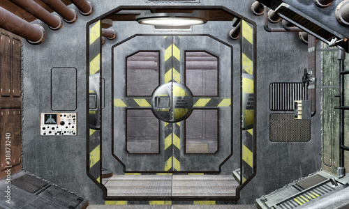 spaceship hatch and corridor background