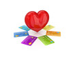 Colorful credit cards around red heart.
