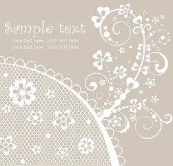 Beautiful pastel card with lace