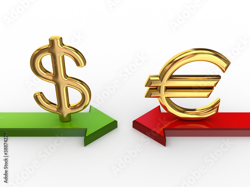 Dollar sign against euro sign.