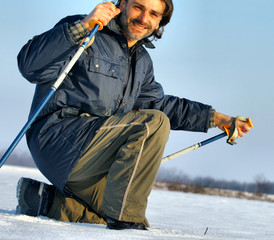 nordic walking in the winter snow