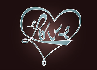 Love and heart - typography design