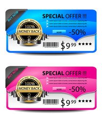 Sale banners-vector. Blue and pink version.