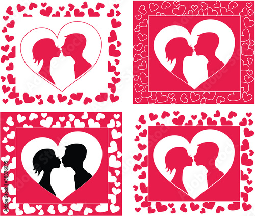Kissing couple   silhouette in heart shape background
