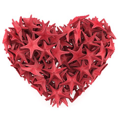 Heart made of Red sea star. Isolated on white. 3d render