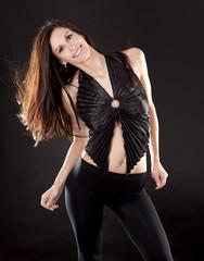 brunette in black