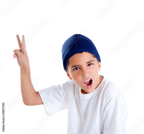 blue cap kid boy with victory hand gesture portrait