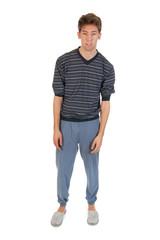 Young man in pajamas