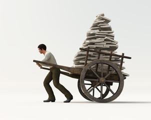 person carries a wheelbarrow