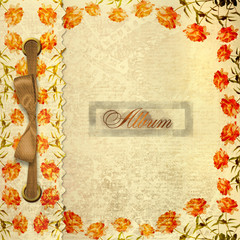 Grunge gold album for photos with bow and painted roses