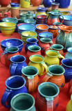 Colorful hand-made pottery for sale at farmer's market - 38878601