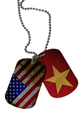 Army ID tags with flags of USA and Veitnam