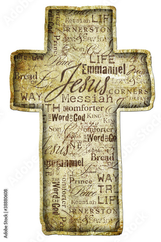 Cross With Religious Words  isolated on white background.