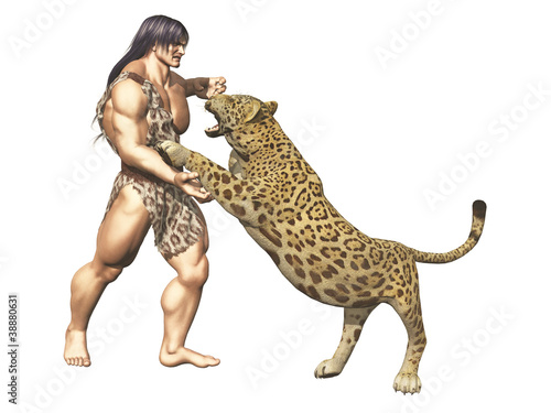 Tarzan wrestles with big cat