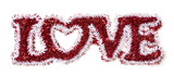 The Word Love Shaped White and Red Tinsel