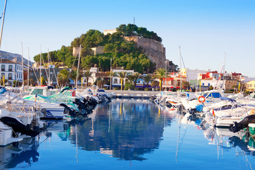 Denia mediterranean port village with castle
