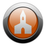 "Orange Metallic Orb Button ""Chapel"""