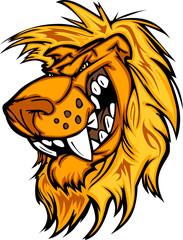 Snarling Cartoon Lion Mascot Vector Graphic