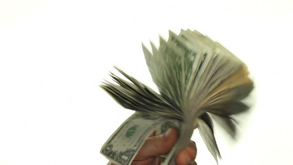 Male Caucasian Hands Fanning and Waving Paper Money Around