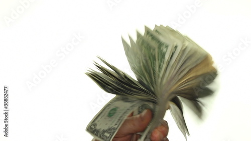 Male Caucasian Hands Fanning and Waving Paper Money Around