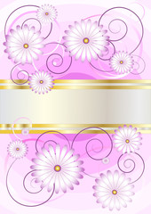 Delicate flowers on a background of shades purple.