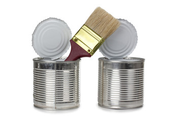 Brush in metal cans