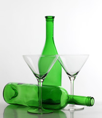 Glasses and bottle martini