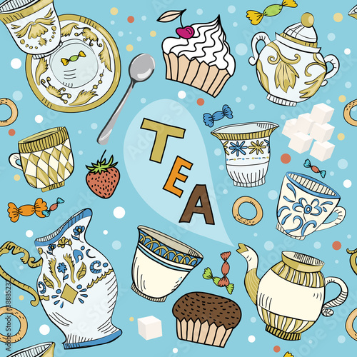 Seamless Victorian tea time pattern