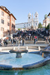 fountain on Spanish square with Spanish Steps, Rome