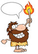 Happy Caveman Holding Up A Torch With Speech Bubble