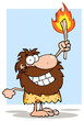 Smiling Caveman Holding Up A Torch